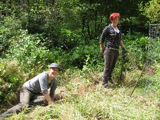 Canadian WWOOFers Kathryn & Chelsea Digging Fence Post Holes