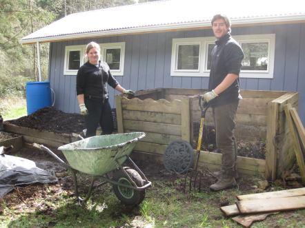 New Zealand WWOOFers Regan & Charlotte Turning Compost