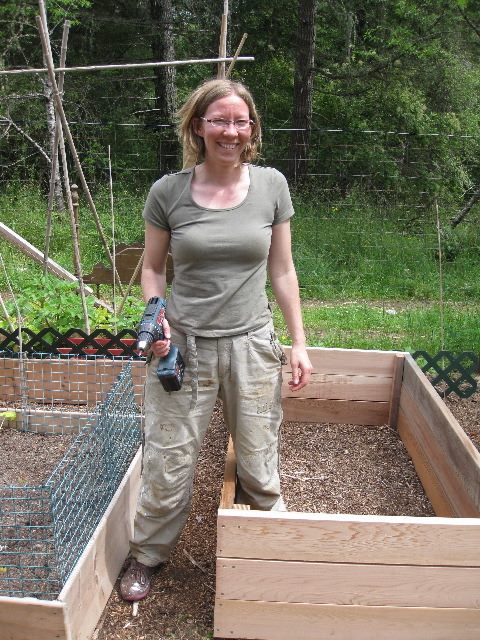 Canadian WWOOFer Sonia Building Raised Beds