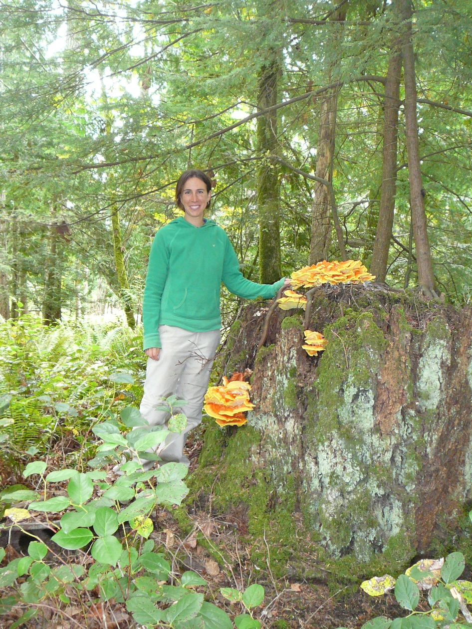 Canadian WWOOFer Dianne with Chicken Of The Woods Mushrooms