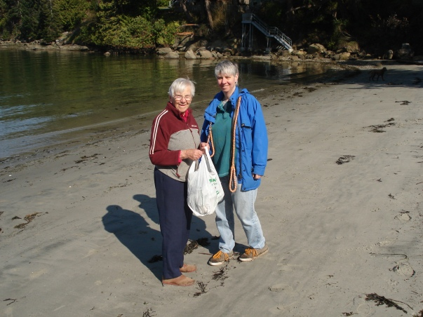 Mum & Me Picking Up Trash At The Beach